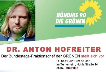 Anton Hofreiter kommt am 18.11. nach Rellingen